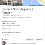 Epson & Sons Appliance Repair fake business