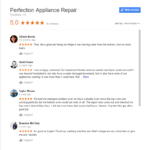Perfection Appliance Repair fake business reviews