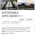 affordable appliance austin google listing
