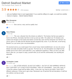 detroit seafood market negative google reviews