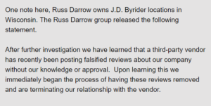 Russ Darrow statement on fake reviews