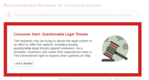 Northwest Movers Yelp warning