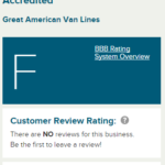 Great American Van Lines F rating