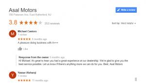 asal motors Google user fake reviews