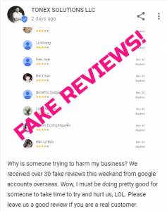 Fake review attack GMB post