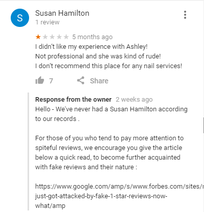 Essence Salon and Spa review reply