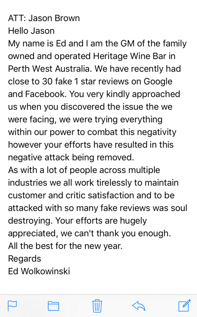 Negative review attack