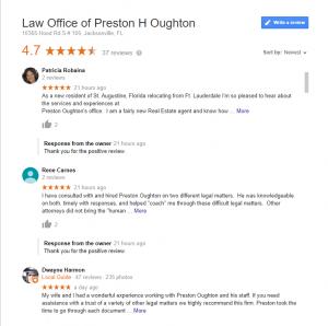 Law Office of Preston H Oughton Google reviews